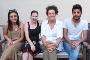 Die Fsf-Netzwerker (v. li. n. re.): Isabell, Laura, Birgit und Hassan